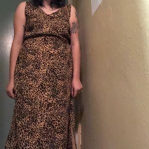 Vintage Leopard Print Maxi Dress